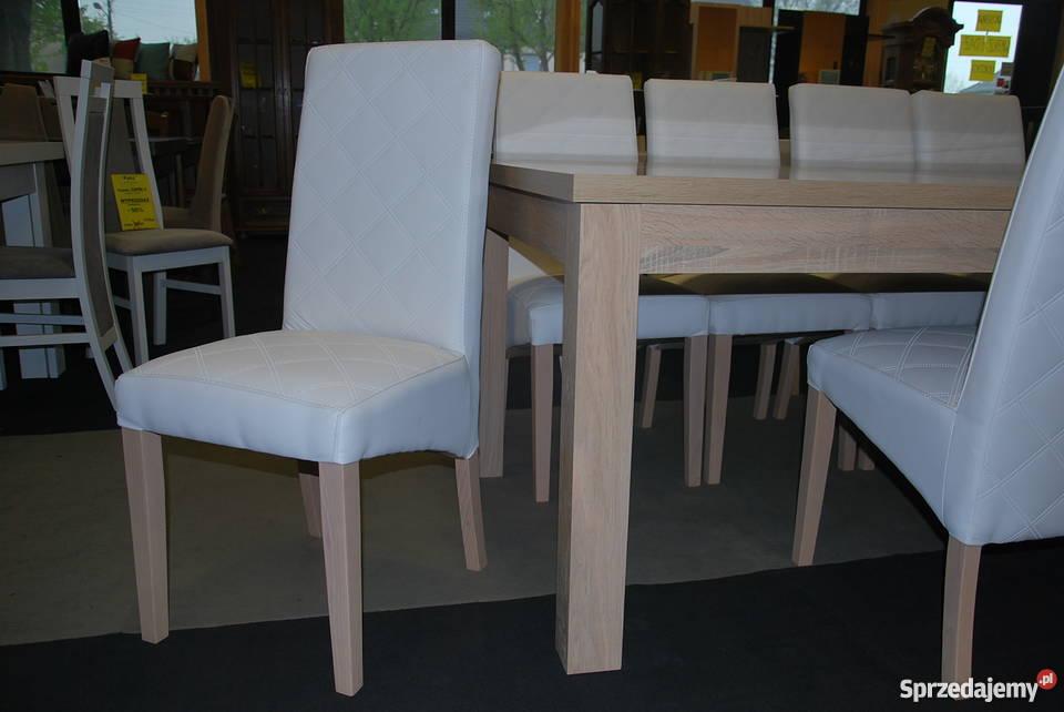 Nowe Krzesła TOMI , szt.8 , SKÓRA Biała, SONOMA Meble PYKA