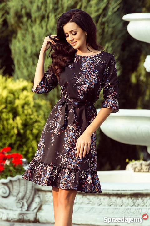 4c52c31c42 MAYA Sukienka falbanki pasek czarna kwiaty S L kolorowy Odzież damska  Mykanów