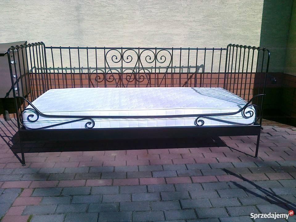 łóżko Rama Metalowe Ikea Meldal Czarne 90x200 Stelaż Mater Sulbiny