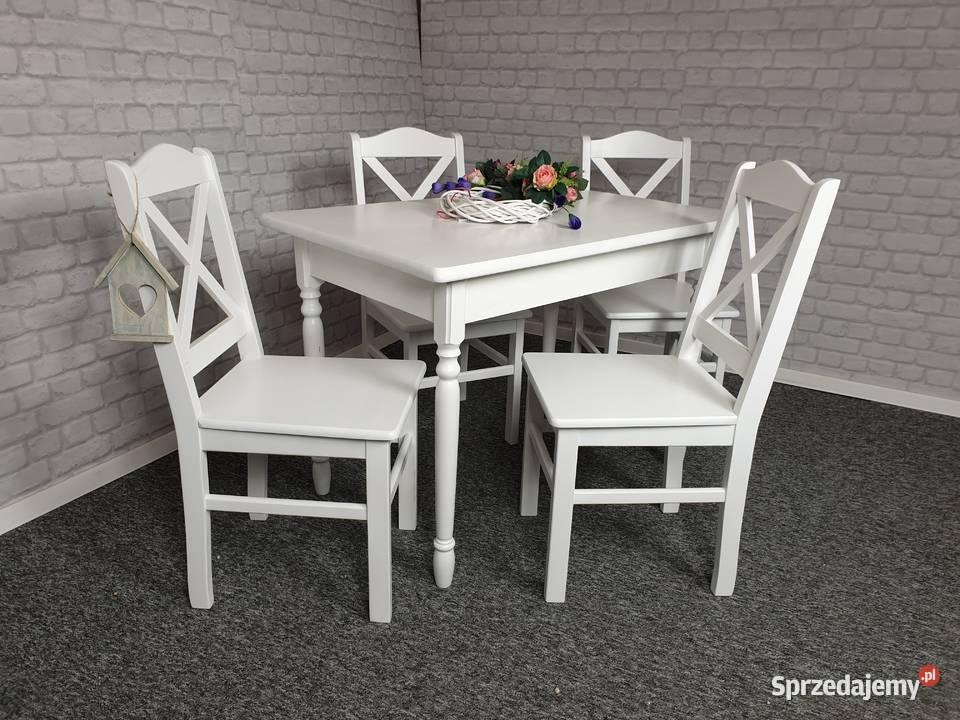 Stół 110x70 drewniany sosnowy toczony biały