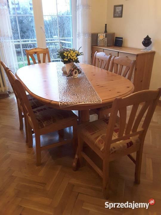stół IKEA rozkładany sosna z krzesłami 6 szt.