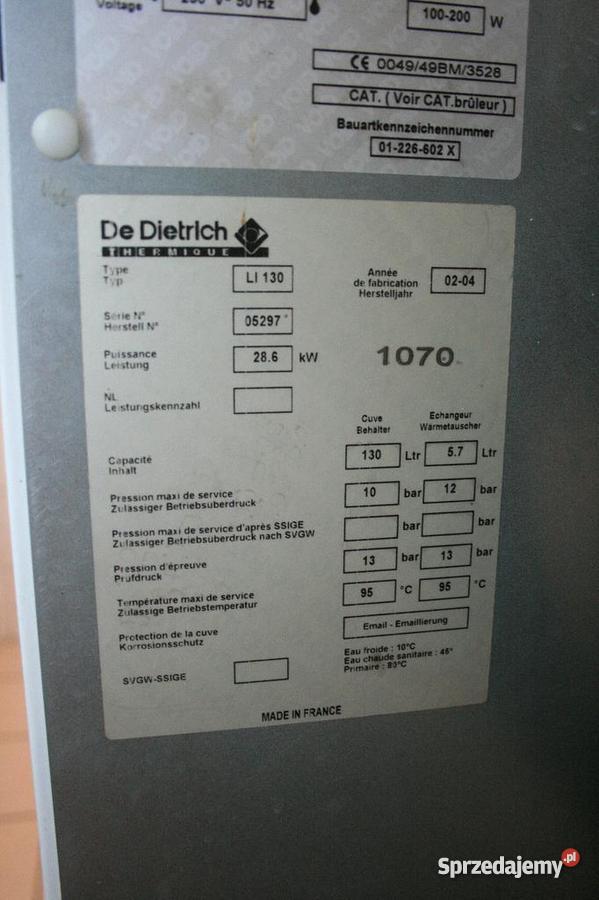 De Dietrich piec olejowy GTU 1204 V 27 kW ERSV13 Zagościniec sprzedam