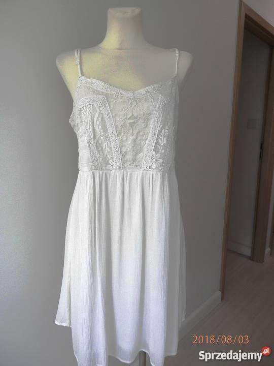 Sukienka New Look Biała Haft Koronka Bawełniana Boho 44