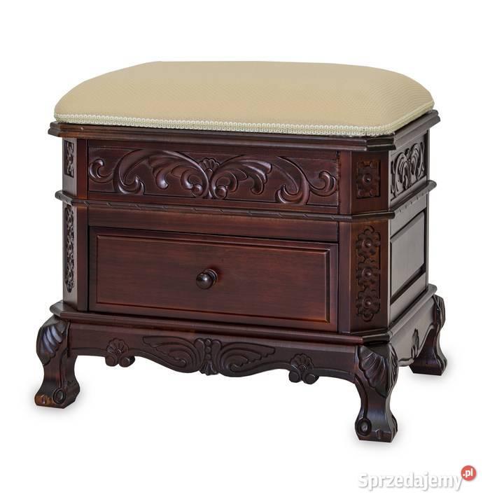 Drewniana rzeźbiona antyczna otwierana ławka siedzisko pufa
