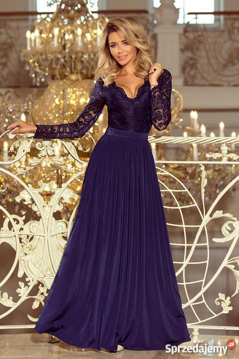 41d5d5f22b MADLEN maxi suknia koronkowy dekolt długi rękaw Spódnice i sukienki Mykanów