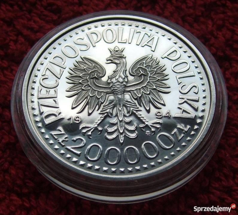 MONETA 200000 KRÓL ZYGMUNT STARY 1994 SREBRO śląskie Katowice