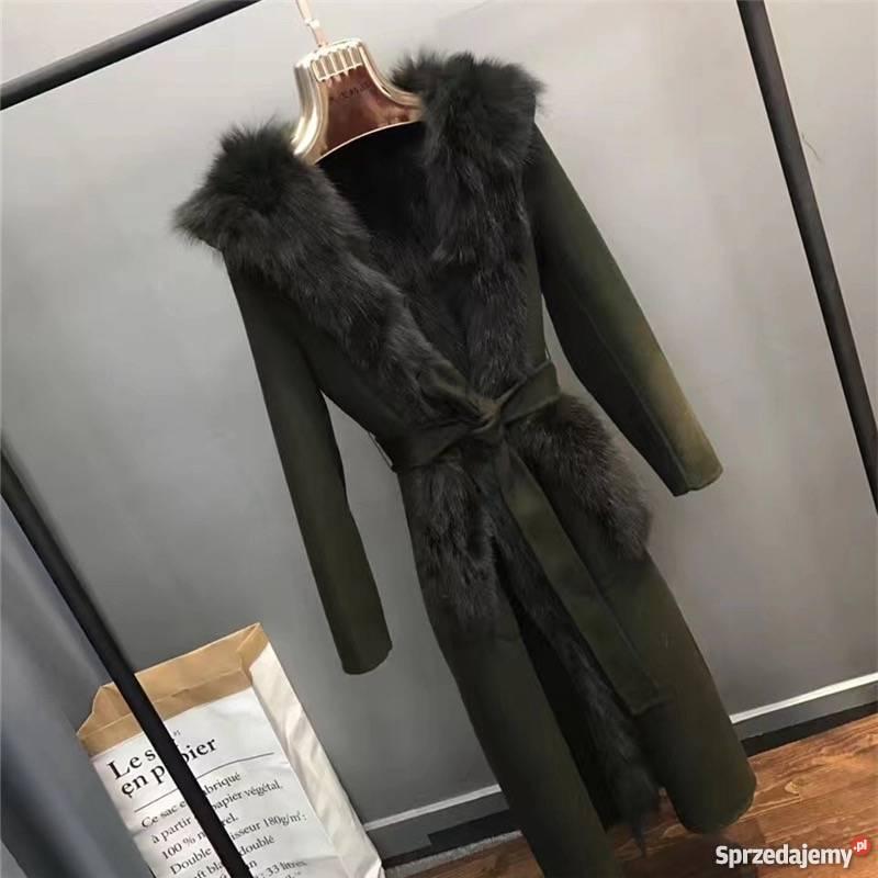 Długie elegancki płaszcz obszyty futrem z lisa S 3XL