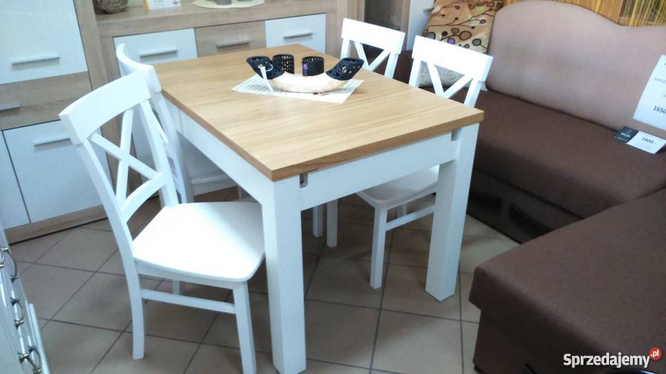 Komplet stół 120x80/190 i krzeseł prowansalski biały produce