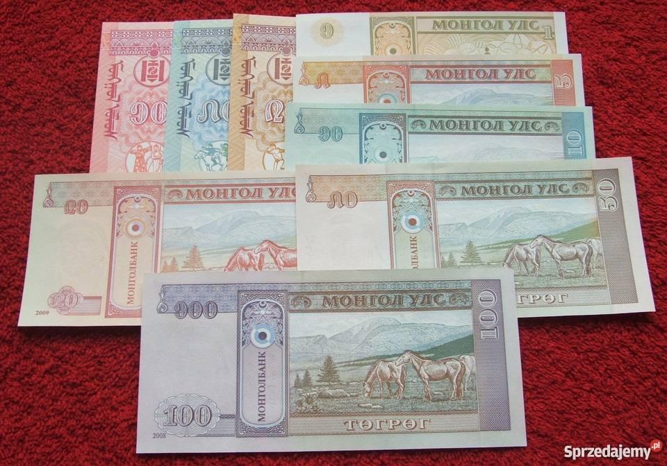 MONGOLIA Kolekcjonerskie Banknoty Zestaw 9 sztuk śląskie Katowice