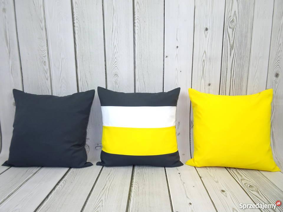 3 Poduszki Dekoracyjne Szaro żółte