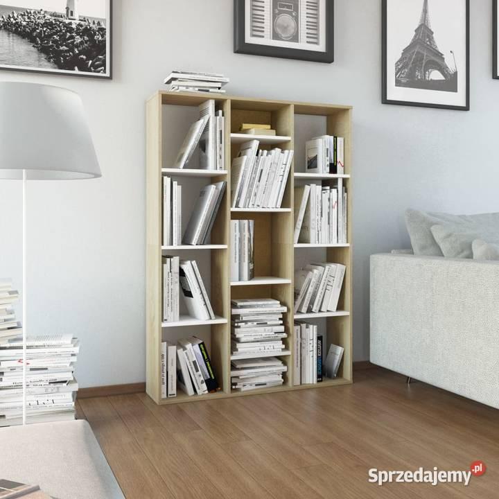 vidaXL Przegroda/regał na książki, biel i dąb sonoma, 800446