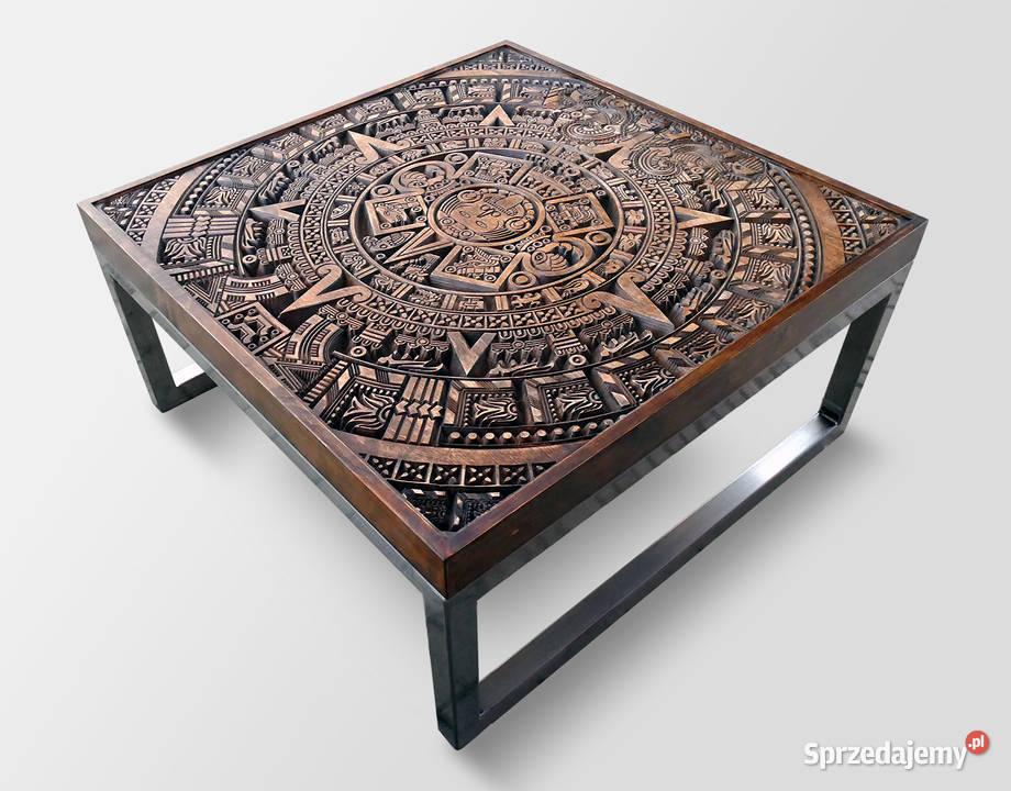 Stolik kawowy, ława drewniana, rzeźbiony wzór