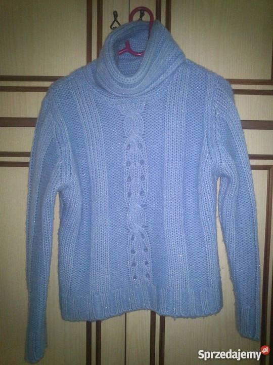 54a25119e239b ciepły sweter z golfem błękitny ze srebrną nitką Inny wzór mazowieckie  Warszawa