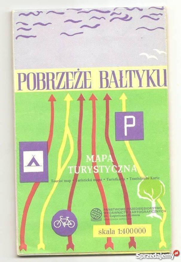 Mapa turystyczna Pobrzeże Bałtyku Rok wydania 1990 Koszalin