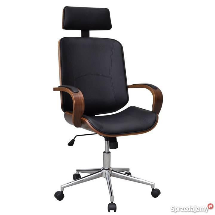 Krzesło biurowe obrotowe z drewna i sztucznej skóry 241686
