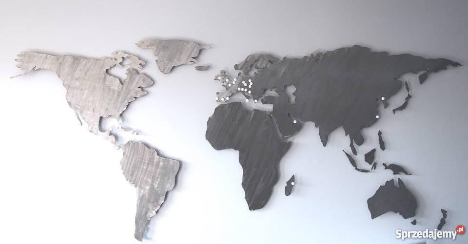 Mapa świata Podświetlana LED Stalowa Ręcznie mazowieckie
