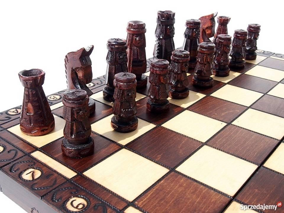 ORYGINALNE drewniane szachy ZAMKOWE 54x54 Śleszowice