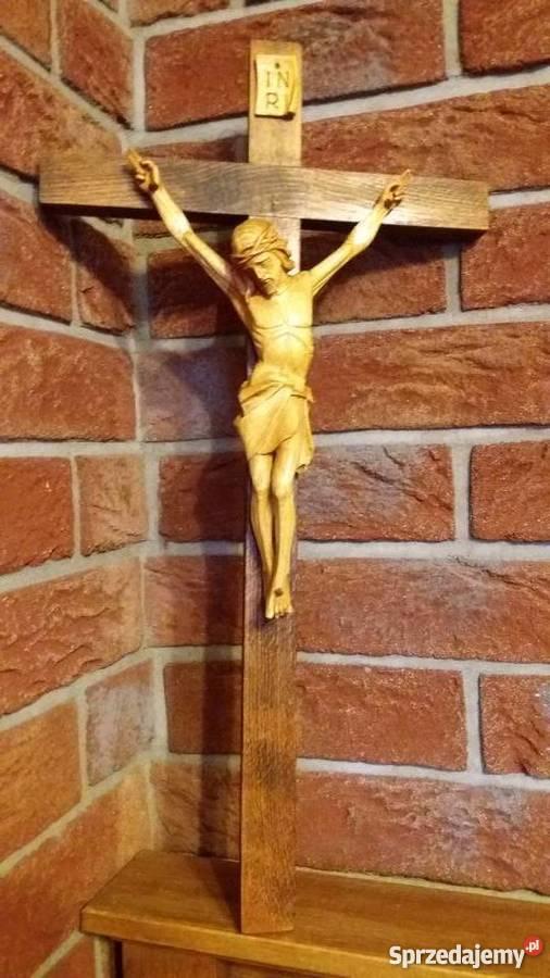 Rzeźba w drewnie krzyż drewniany dewocjonalia małopolskie Lubień