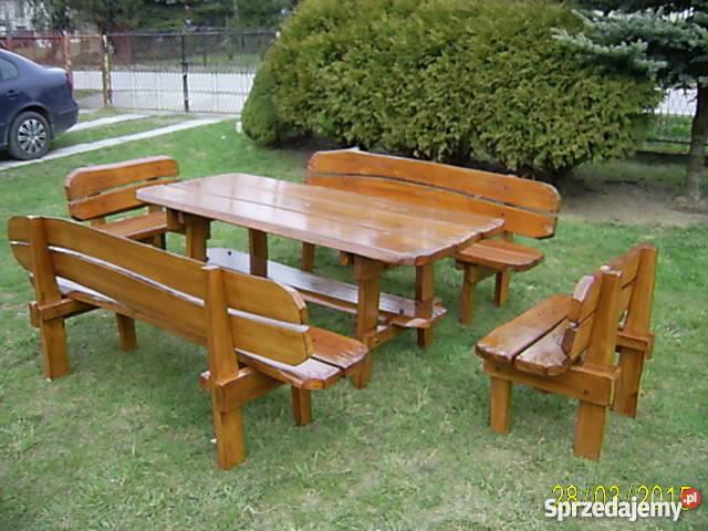 Drewniane Meble Ogrodowe Stół 2 ławy 2 ławki