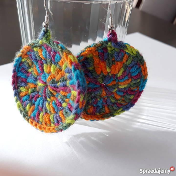 7957d81dfcf06d Kolczyki ręcznie robione na szydełku kolorowe Kamyk - Sprzedajemy.pl
