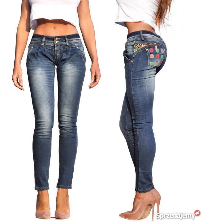 80bf54bb Spodnie Damskie Jeans Denim Dopasowane Rurki Zameczk #401