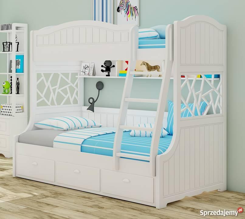 Białe łóżko Piętrowe Dla Dzieci Z Drabinką Solidne