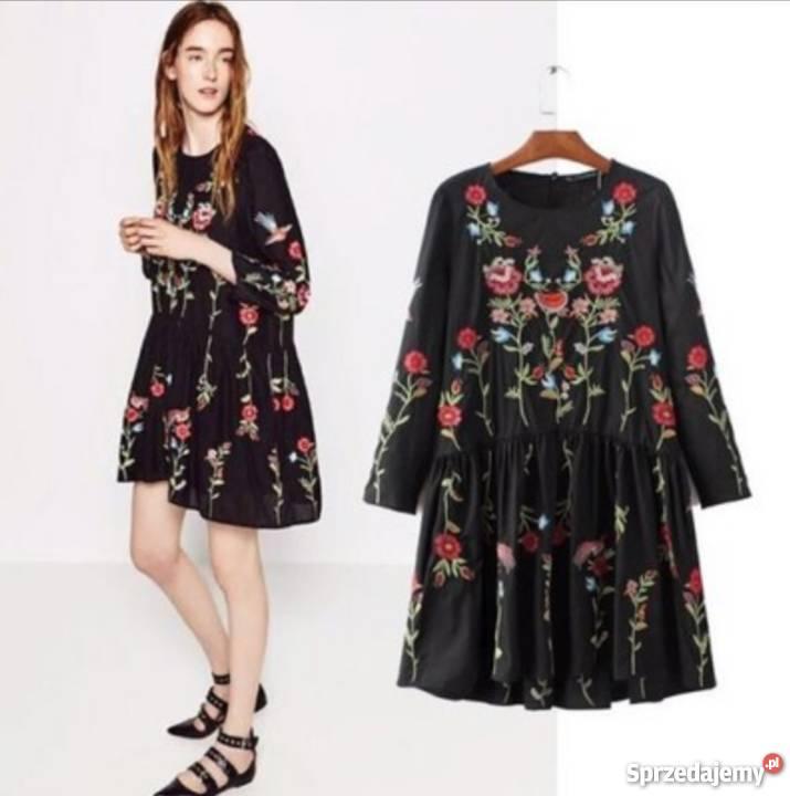ZARA sukienka w haftowane kwiaty w idealnym stanie (XS)