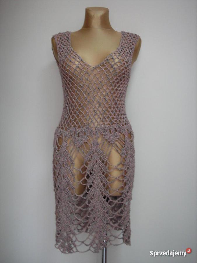Rękodzieło sukienka robiona na szydełku z wysyłk Dynów