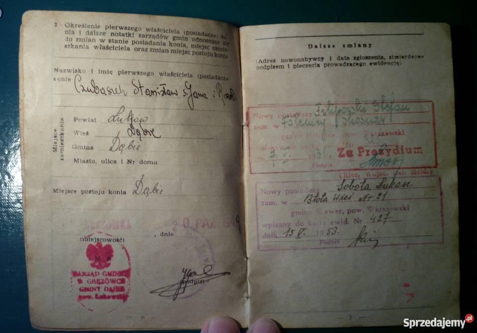 Dowód tożsamości KONIA 1949 sprzedam Kraków
