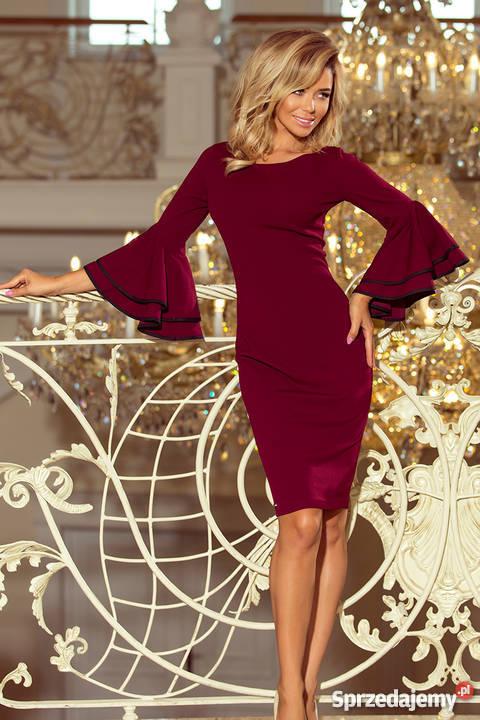 aa1c41a5dfa88c jokastyl Bordowa sukienka z hiszpańskimi rękawami S M L XL Mykanów ...