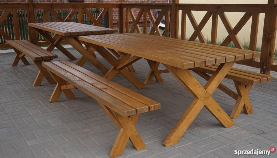 Meble ogrodowe Stół drewniany Ławki drewniane Drzewce