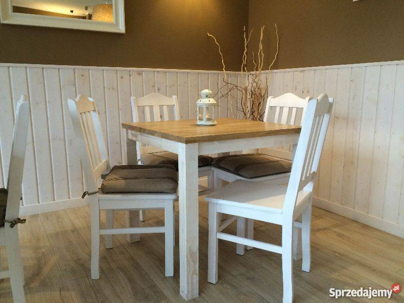 Stół Kwadratowy I 4 Krzesła Drewniane 100 Drewno Modne Nowe