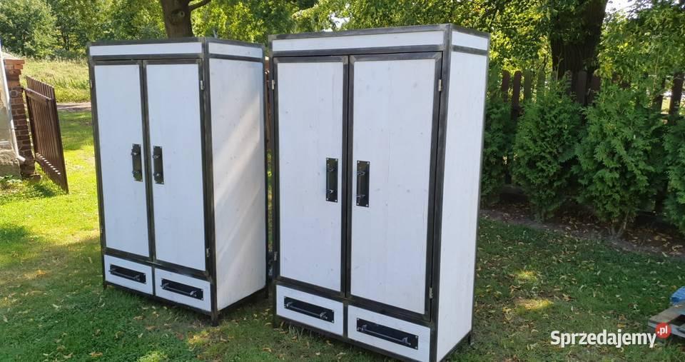 industrialna szafa ubraniowa 2 drzwiowa z szufladami loft
