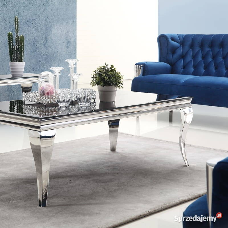 Ława glamour Ludwik 140 szklany czarny biały stół stolik