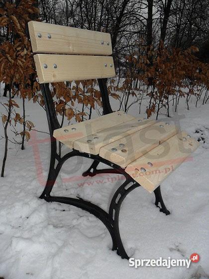 Krzesło żeliwne W3 KRÓLEWSKIE z drewnianym siedz czarny Kraków sprzedam