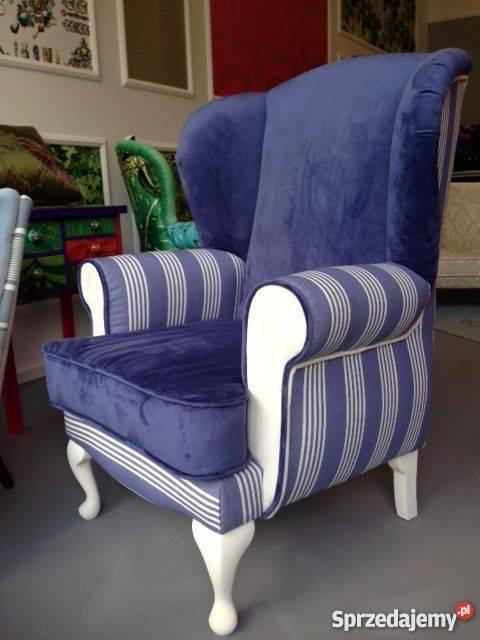 Fotel Uszak Angielski Stylowy Klasyczny Niebieski