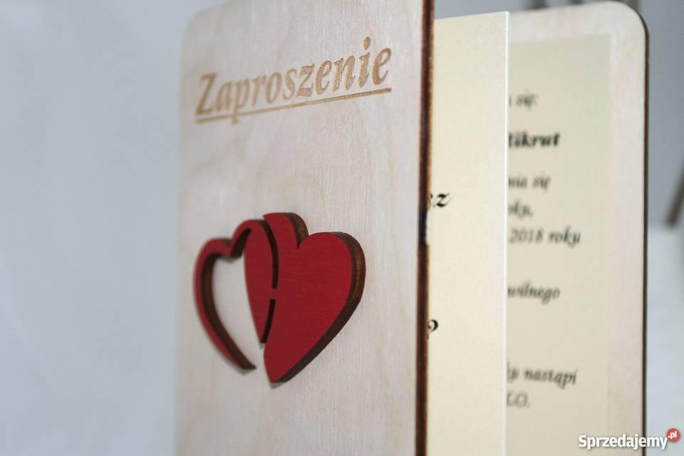 Zaproszenia ŚWIADKÓW z drewnianą okładką E12 mazowieckie Warszawa