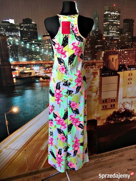 pinkboutique sukienka maxi kwiaty neonowa nowa roz.40