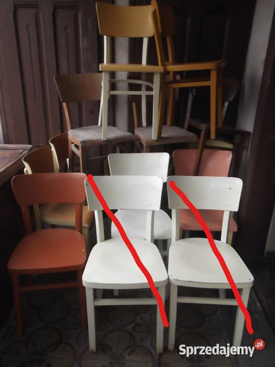 PRL. Krzesła Drewniane .