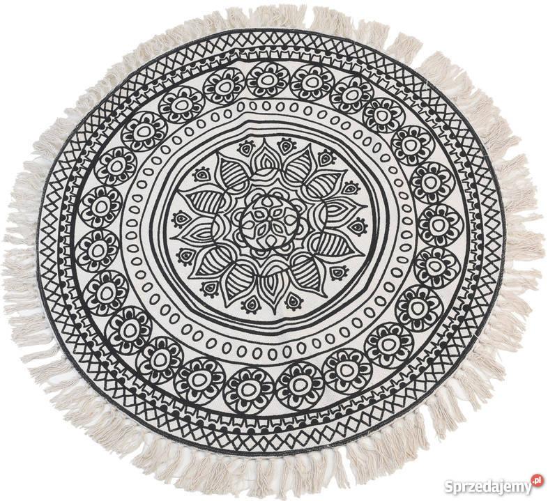 Dywan okrągły z frędzlami 90 cm bawełna czarno beżowy