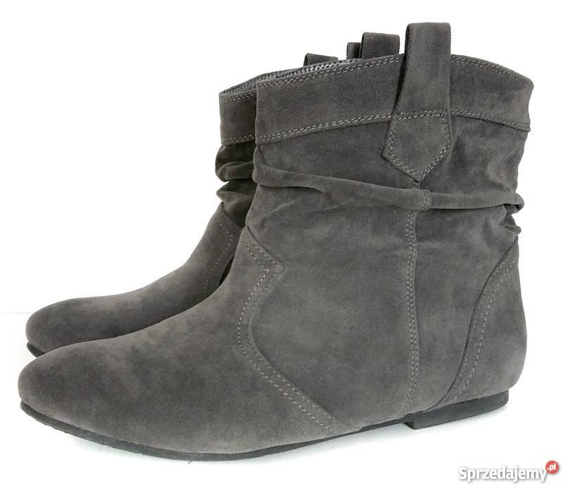 be4003f707a9e Damskie buty botki saszki szare zamsz 37 Częstochowa - Sprzedajemy.pl