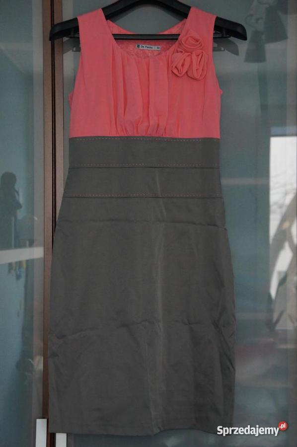 ccde689721 Wizytowa sukienka De Facto r.38 różowo-szara NOWA - Sprzedajemy.pl