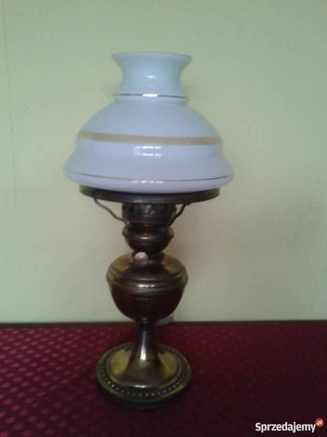 Lampa stołowa mosiężna z kloszem szklanym.Wys.45cm