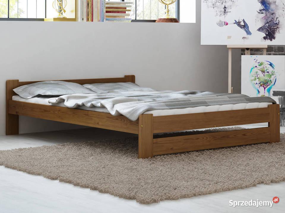 Meble Magnat łóżko podwójne drewniane sosnowe Niwa kolor dąb
