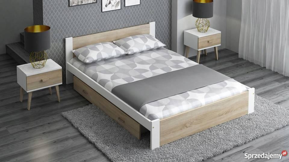 Łóżko 160x200 Drewniane DMD3 Białe Dąb Sonoma + materac