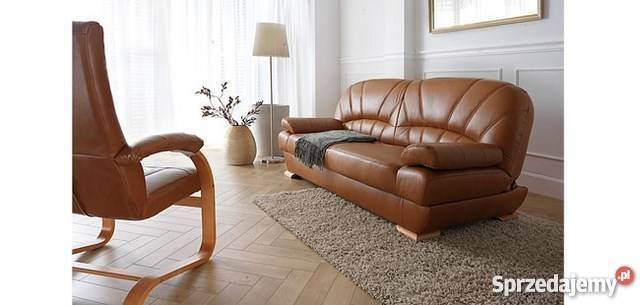 Kanapa sofa wersalka PORTO rozkładana , naturalna skóra