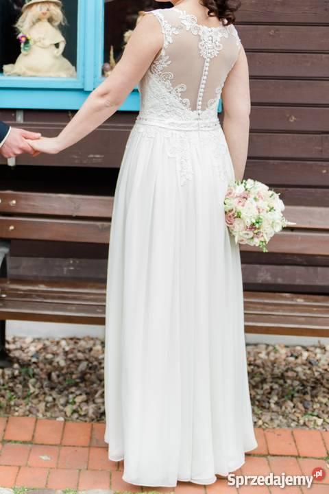 5f0f3414bc Piękna zwiewna muślinowa suknia ślubna kolekcja Rozmiar 40(L) Łódź