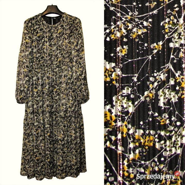 Zara piękna długa zwiewna sukienka z nadrukiem w kwiaty r. M