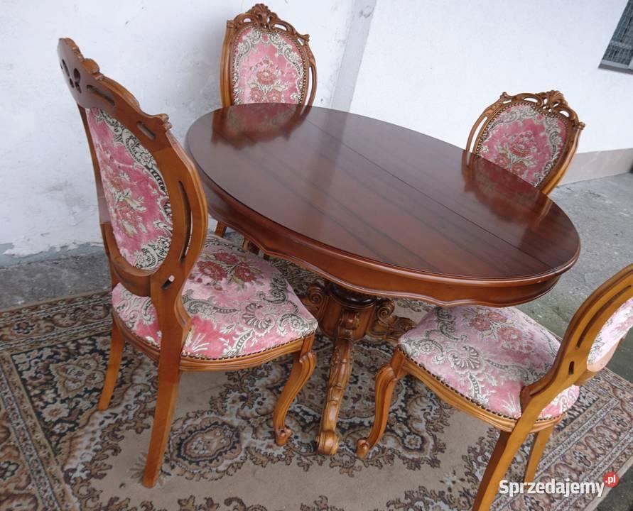 Stół +4 krzesła Rokoko i inne oryginały przepiękne wzory