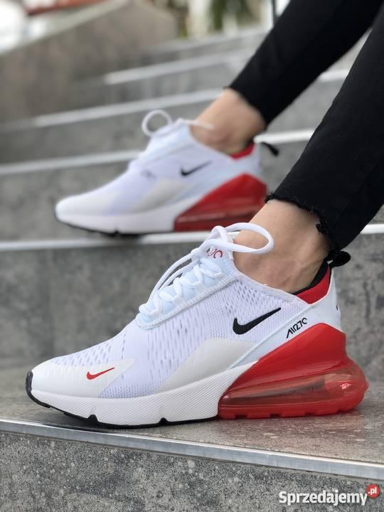 buty nike damskie bialo czerwone siateczkowe